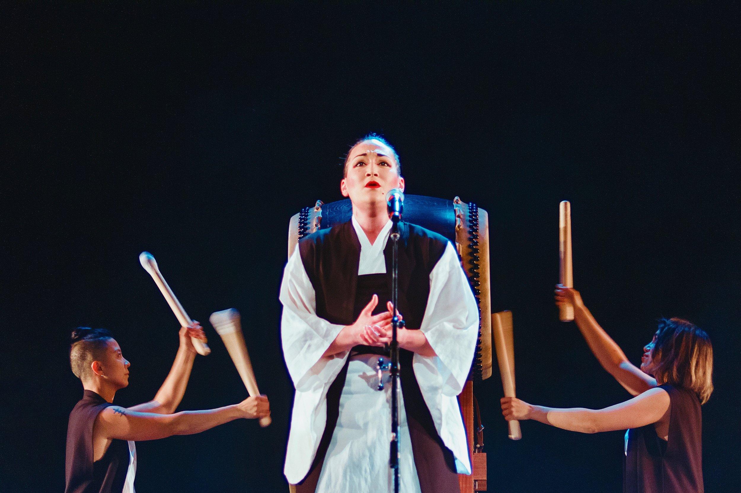 "(L-R) B-K Chan, Teiya Kasahara, Jayd Matyas, performing ""Shima Uta"" with Raging Asian Women Taiko Drummers at  Crooked Lines , Mar 2016. Photo Credit: TBA."