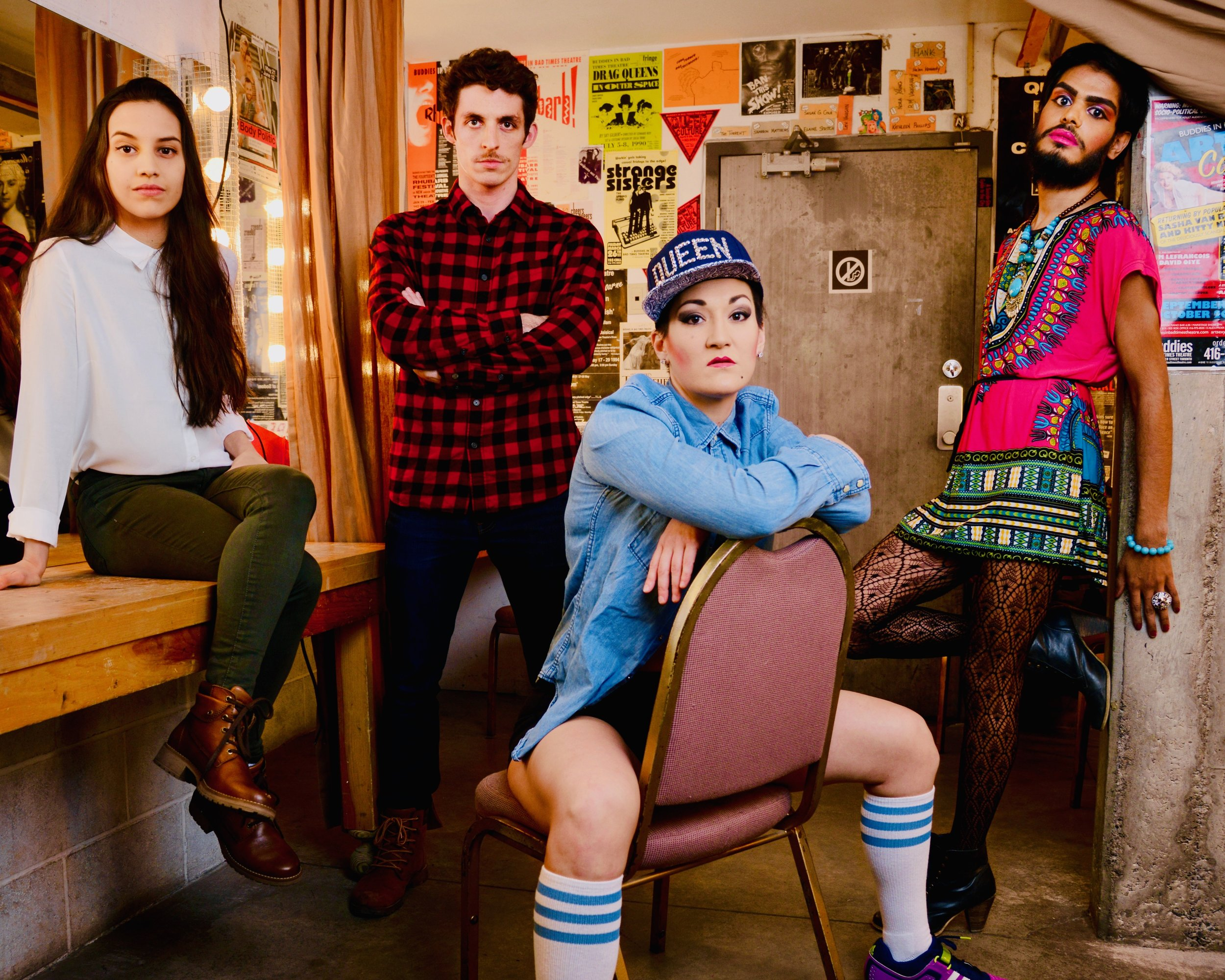 Queer AF Collective: (L-R) Sofía Rodríguez, François Macdonald, Teiya Kasahara, Bilal Baig. Photo Credit: Greg Wong
