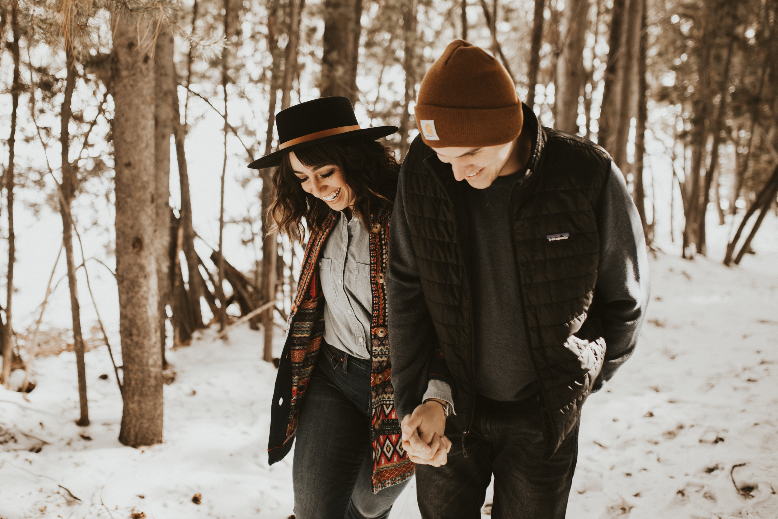 winter mountain engagement session