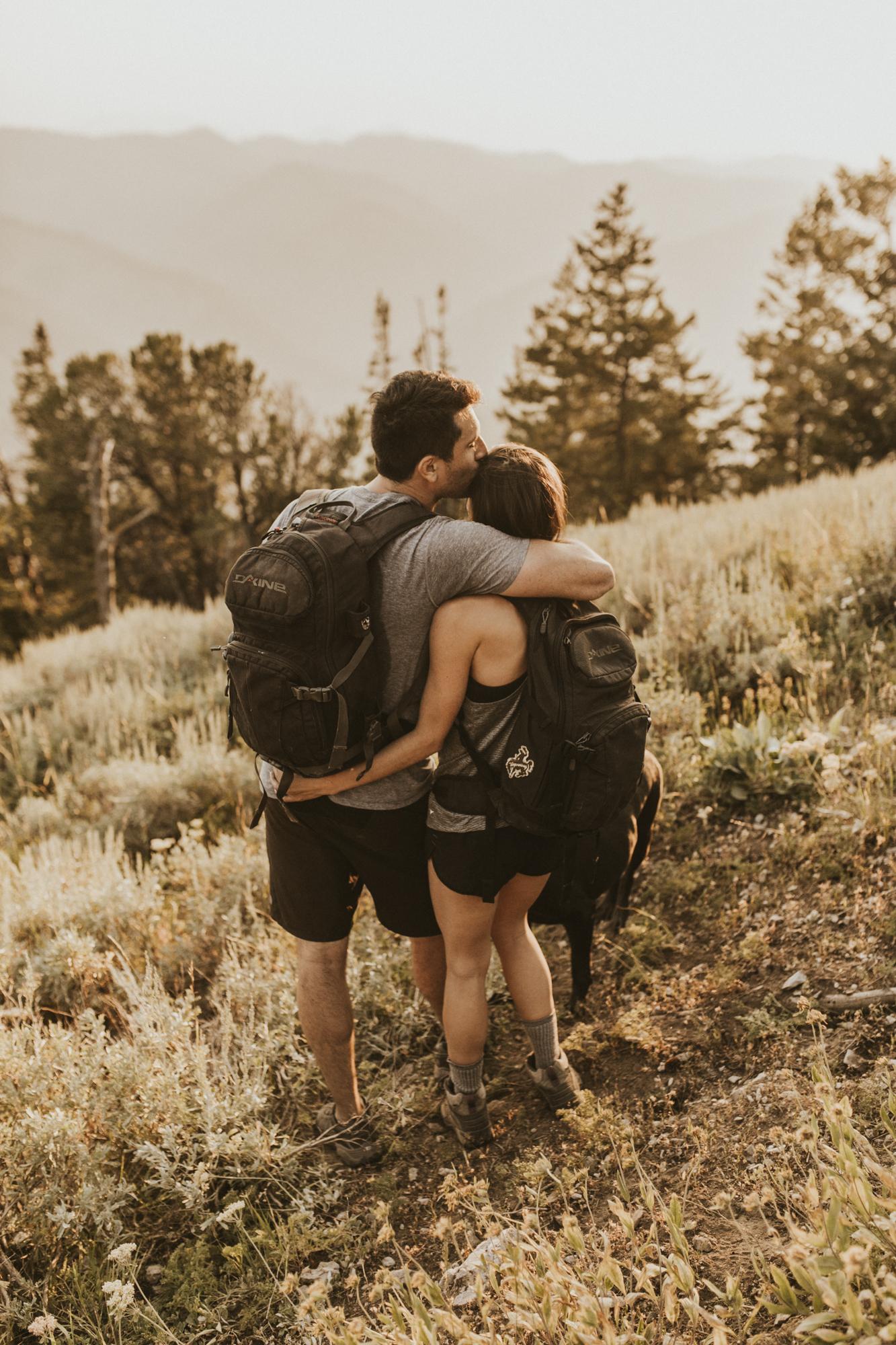 summer mountain engagement photo