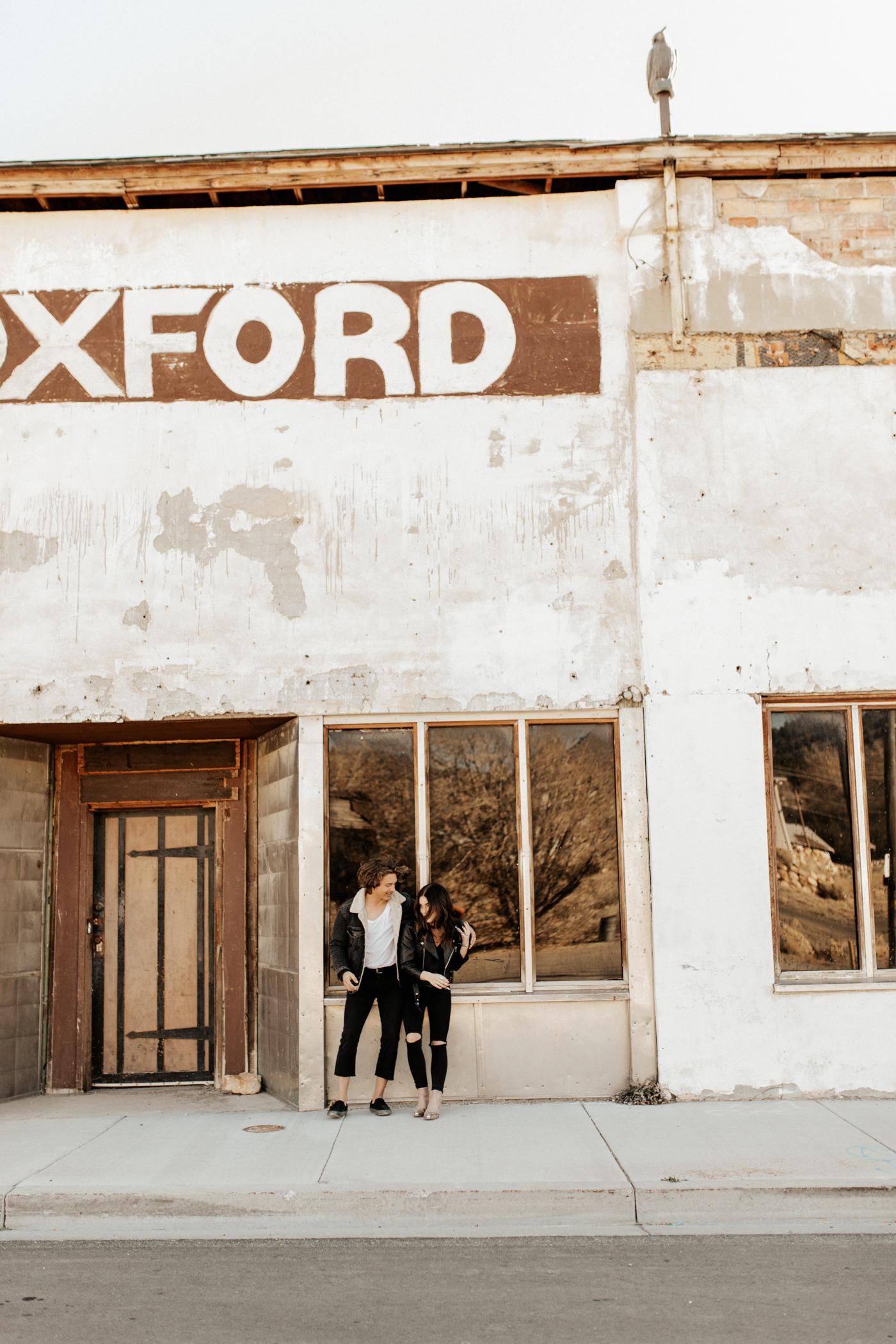 Desert ghost town engagement photos