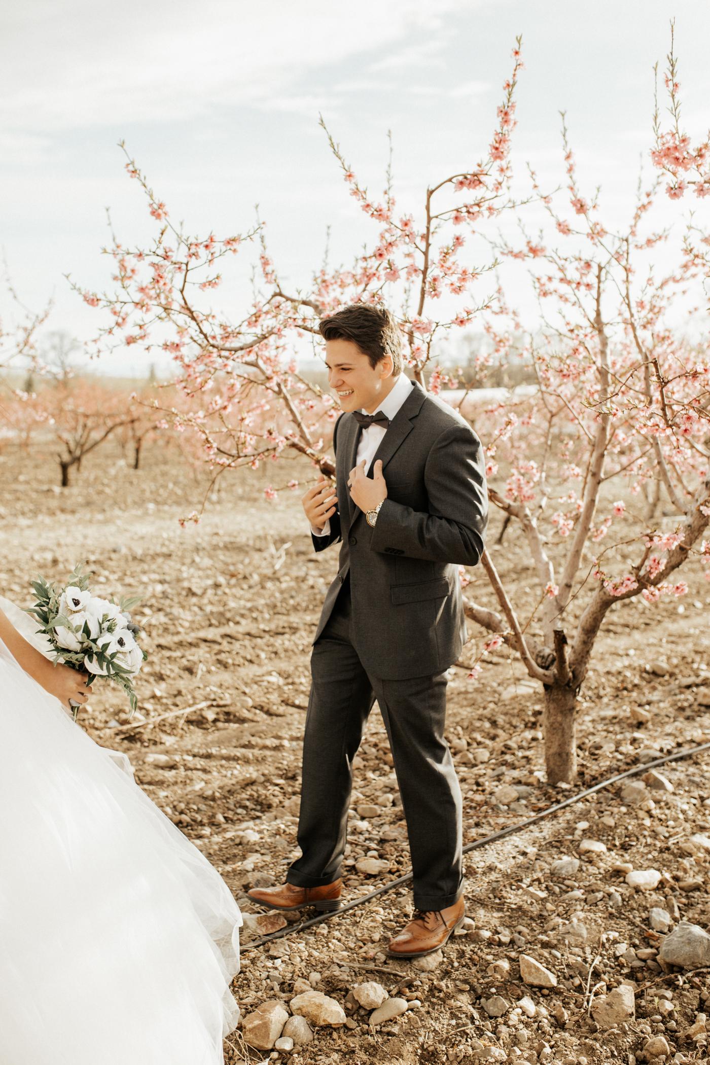 Spring orchard wedding photos