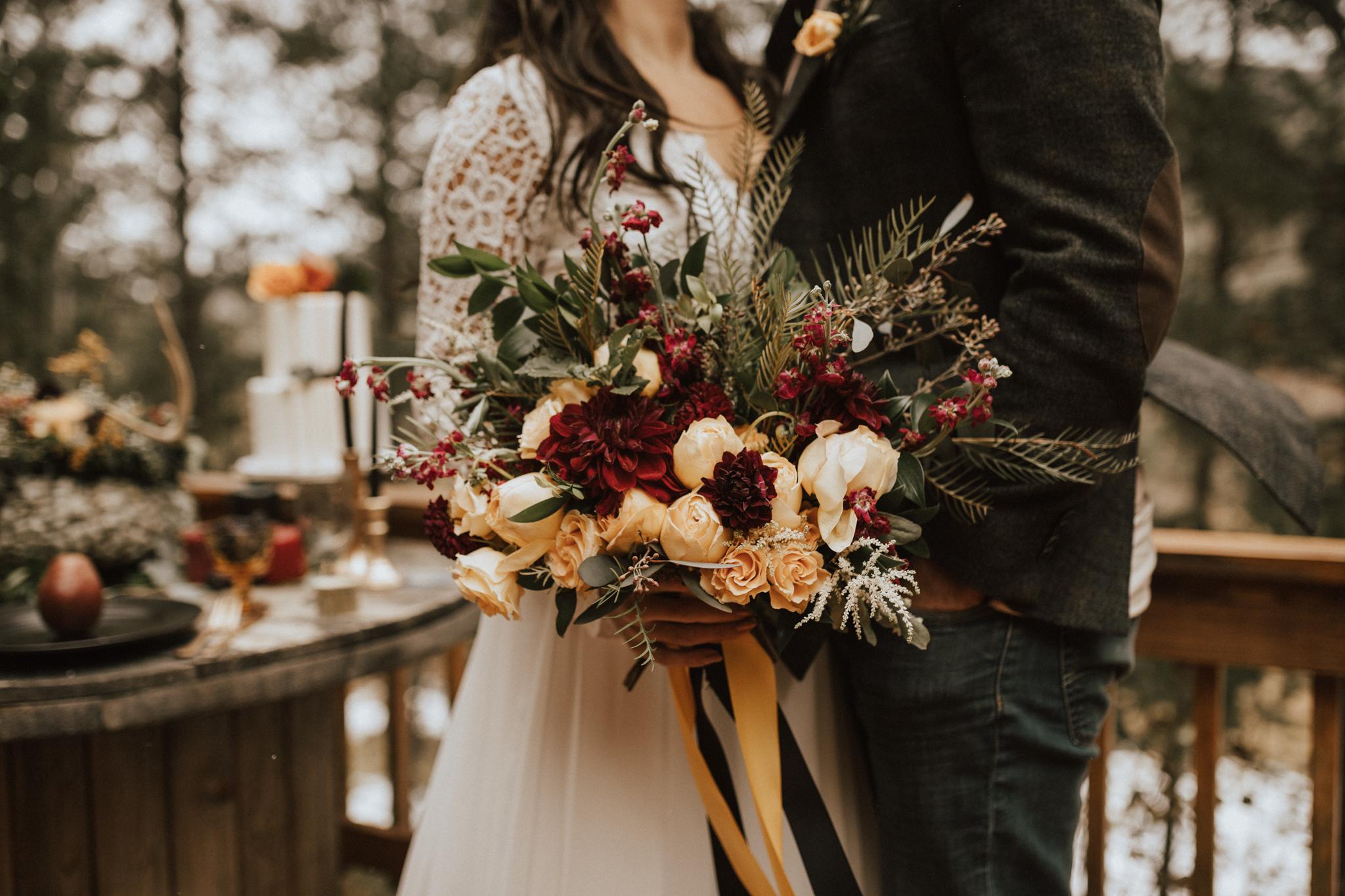 fall cabin mountain elopement wedding
