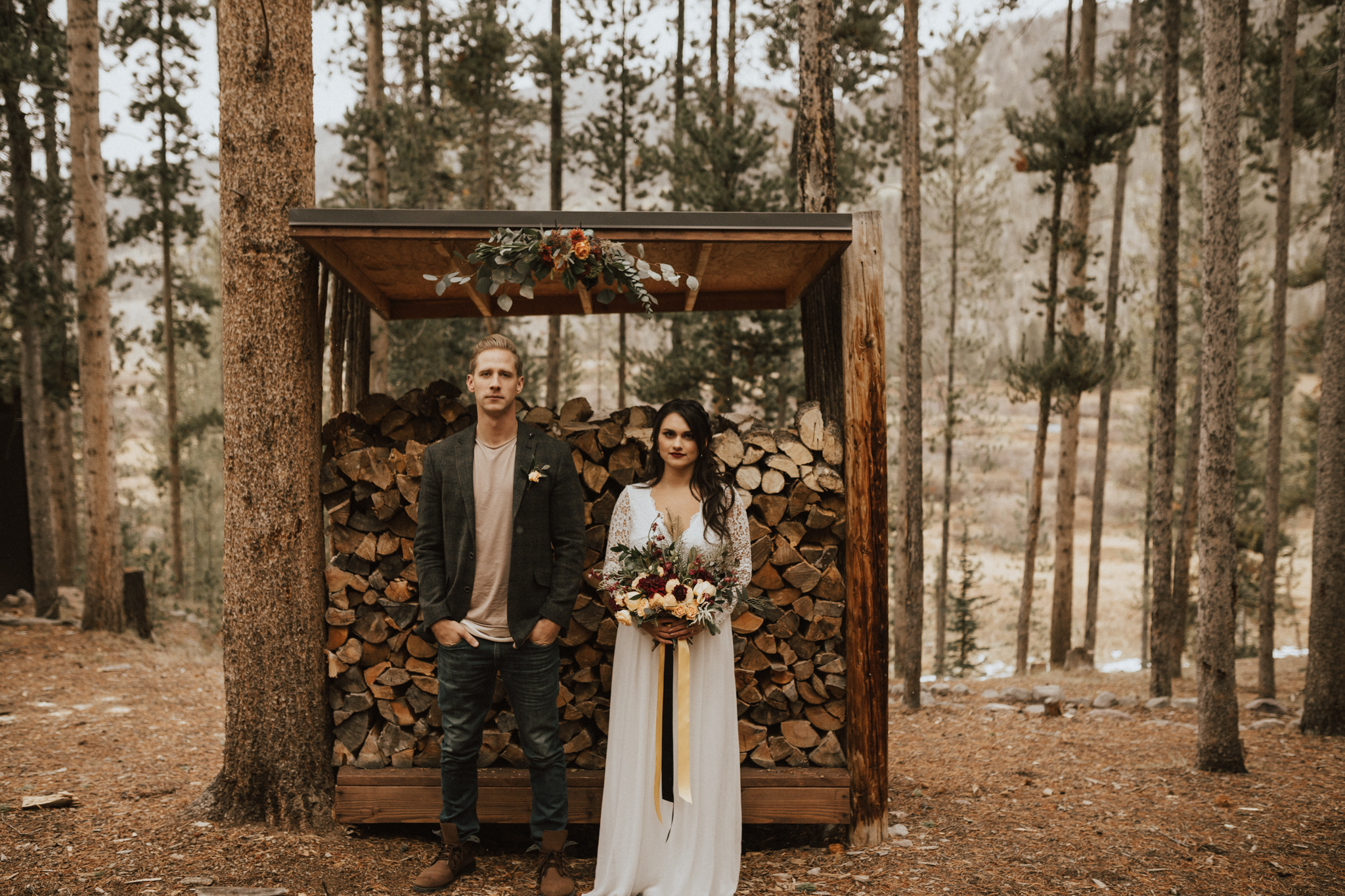 fall mountain cabin elopement wedding