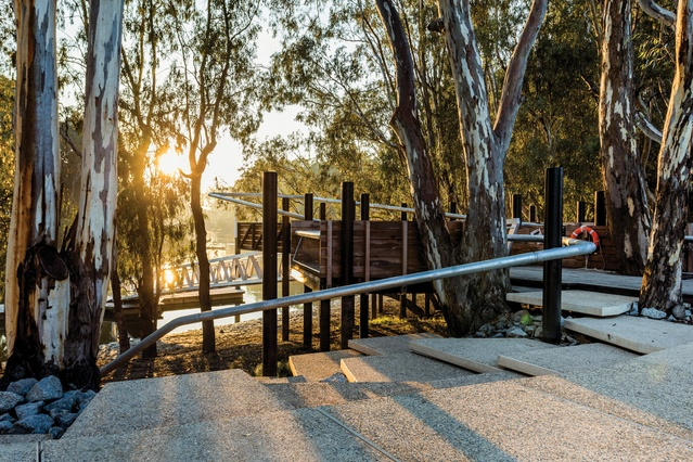 Koondrook Wharf - The Koondrook Wharf was opened in November 2016 and is a contemporary design that allows paddle steamers and large water craft to berth and pick up passengers.