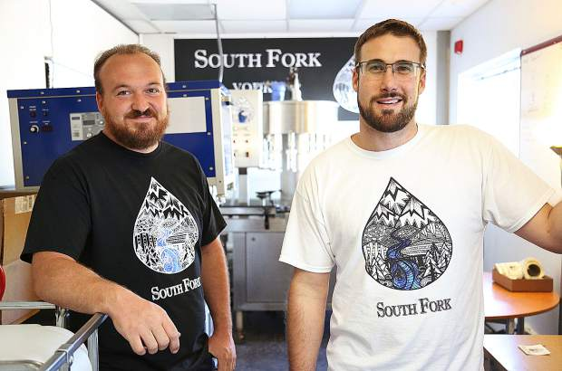 South Fork Vodka creators Dan Kennerson (left) and Jon Dorfman discuss some of what goes into making their new vodka brand. Many who have offered blind taste tests say South Fork is among the best vodkas out there.  Photo:  Elias Funez/efunez@theunion.com