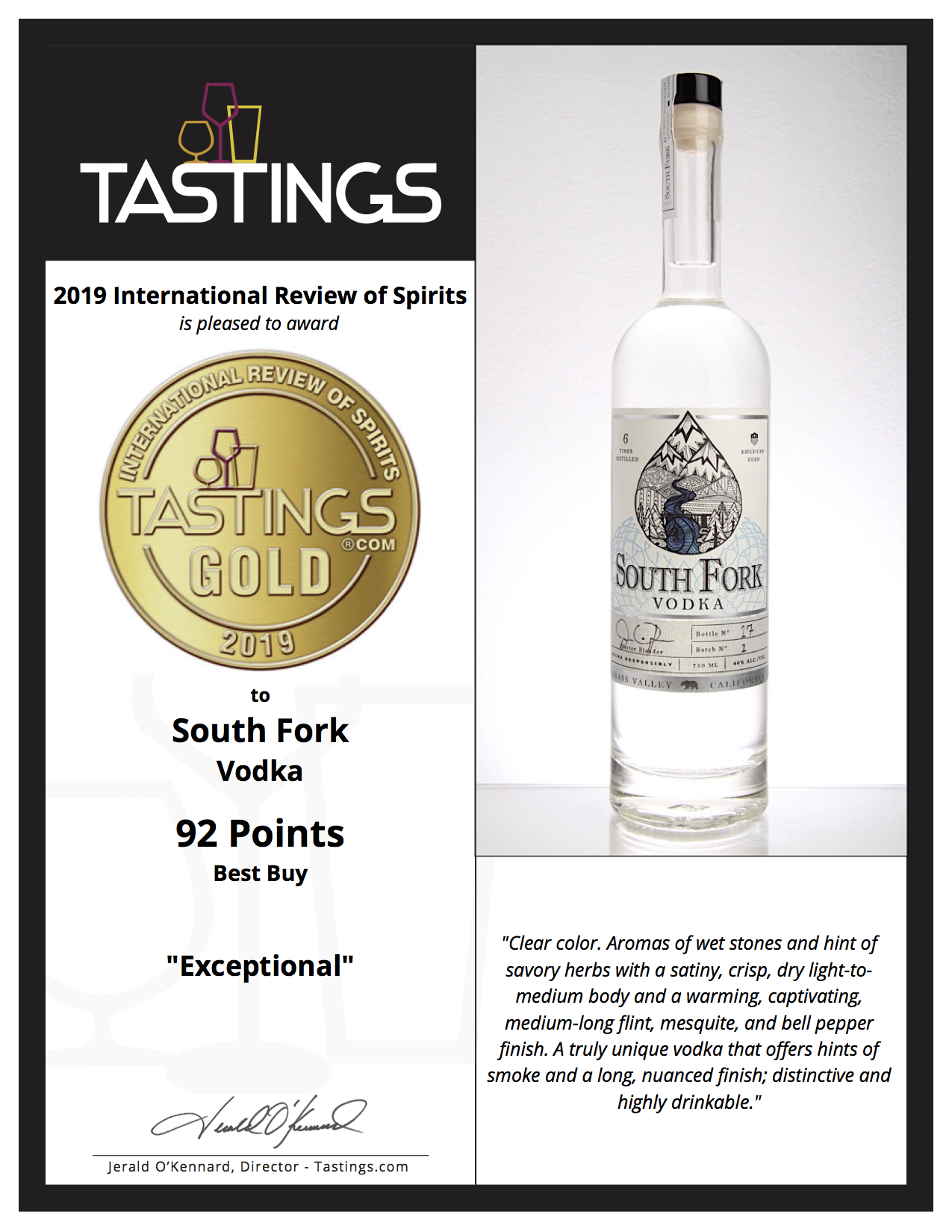 "Beverage Tastings Institute 2019 Gold-92 Points - ""EXCEPTIONAL"""