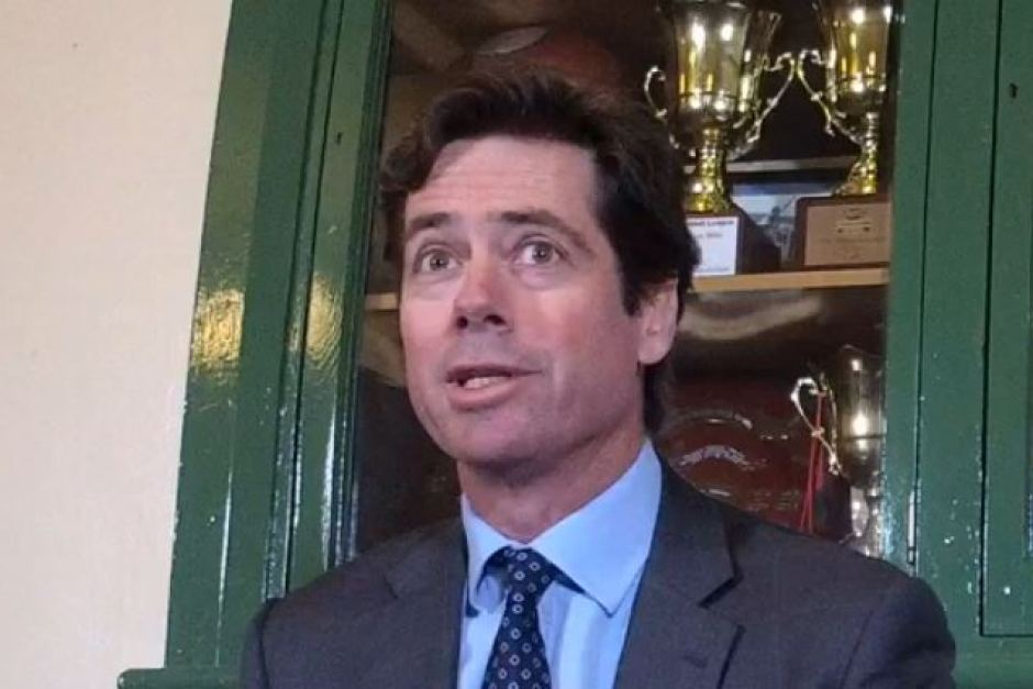 "PHOTO:  Gillon McLachlan visited Tasmania in March and said ""hard decisions"" would be required to ensure the game's future in the state. (ABC News)"