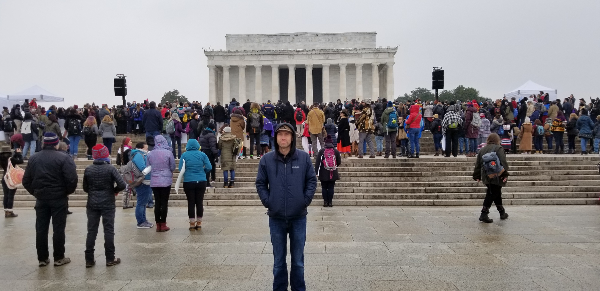 Matt Halvorson stands in front of the Lincoln Memorial during the rally that followed the first Indigenous Peoples March in Washington DC on Jan. 18, 2019. Photo by Nic Cochran.