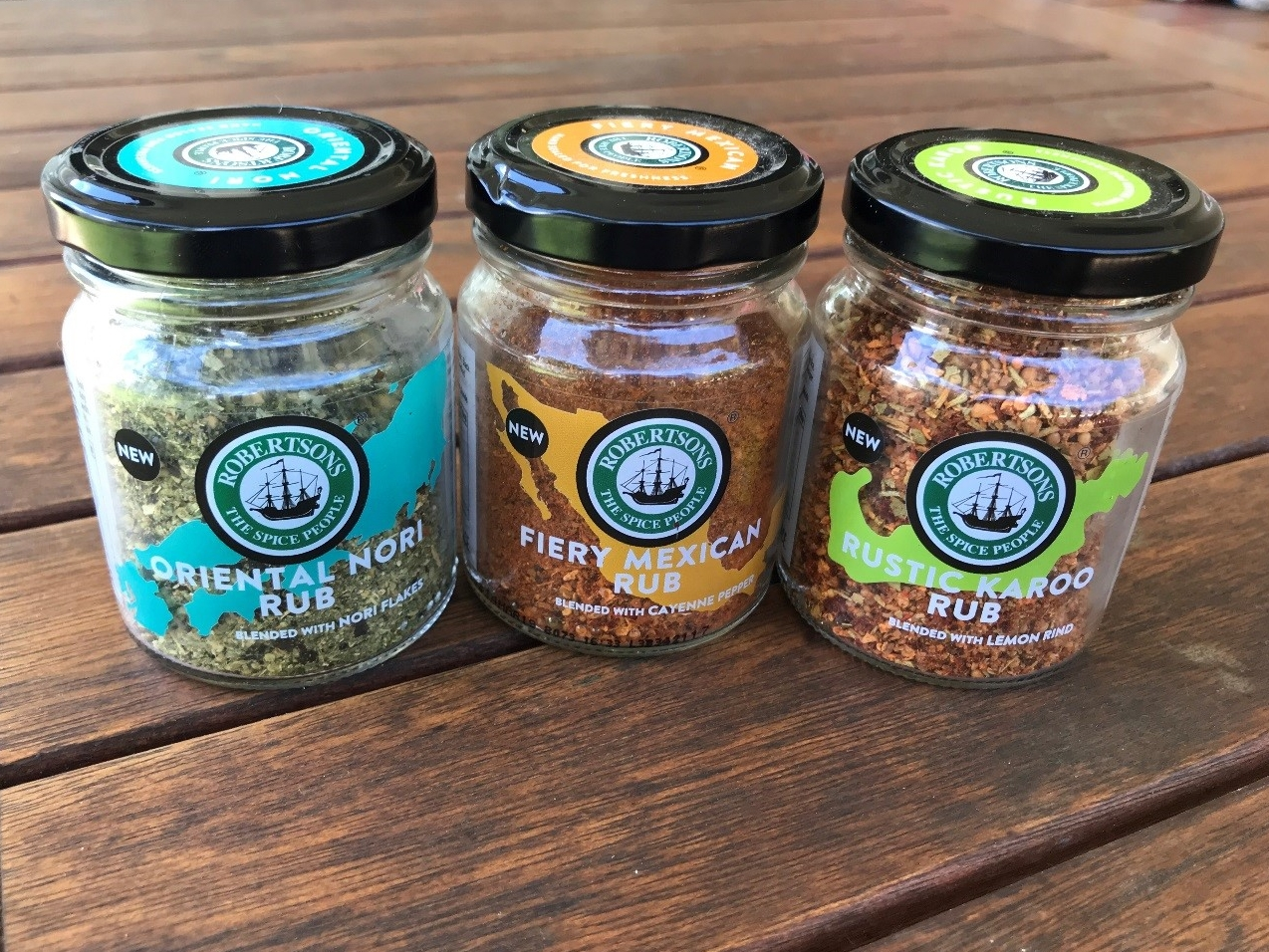 Robertson's spices in Oriental Nori, Fiery Mexican and Rustic Karoo