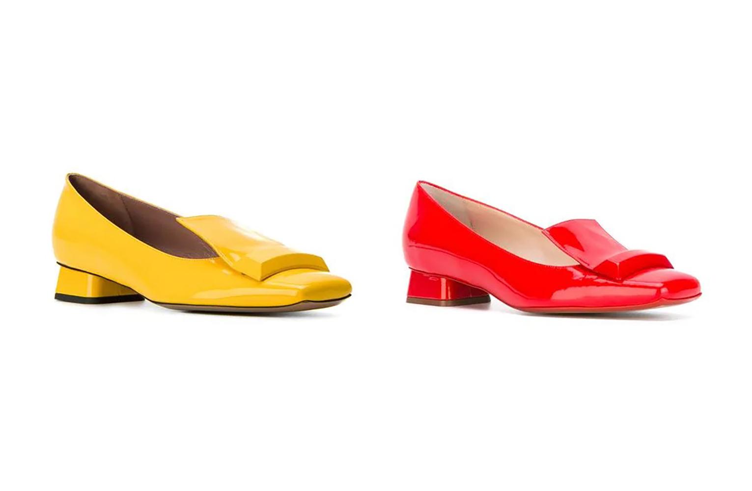 左/Rayne 漆皮低跟鞋(黃) 右/Rayne 漆皮低跟鞋(紅)