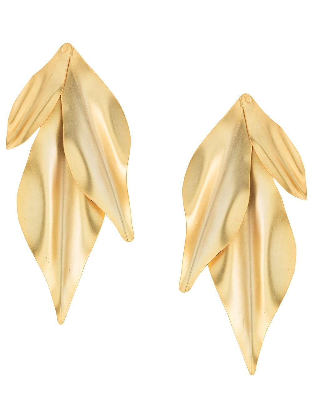 MERCEDES SALAZAR - textured leaf earrings