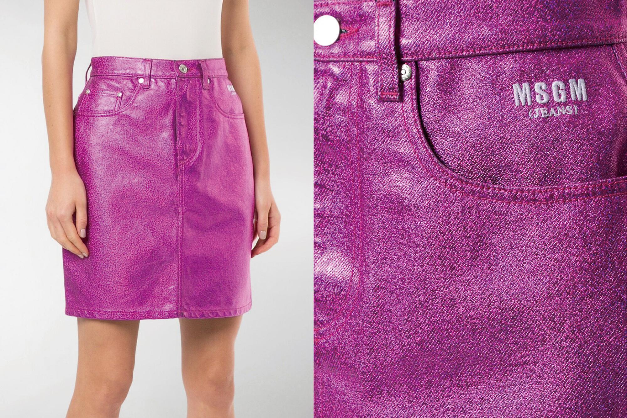 MSGM - metallic denim skirt