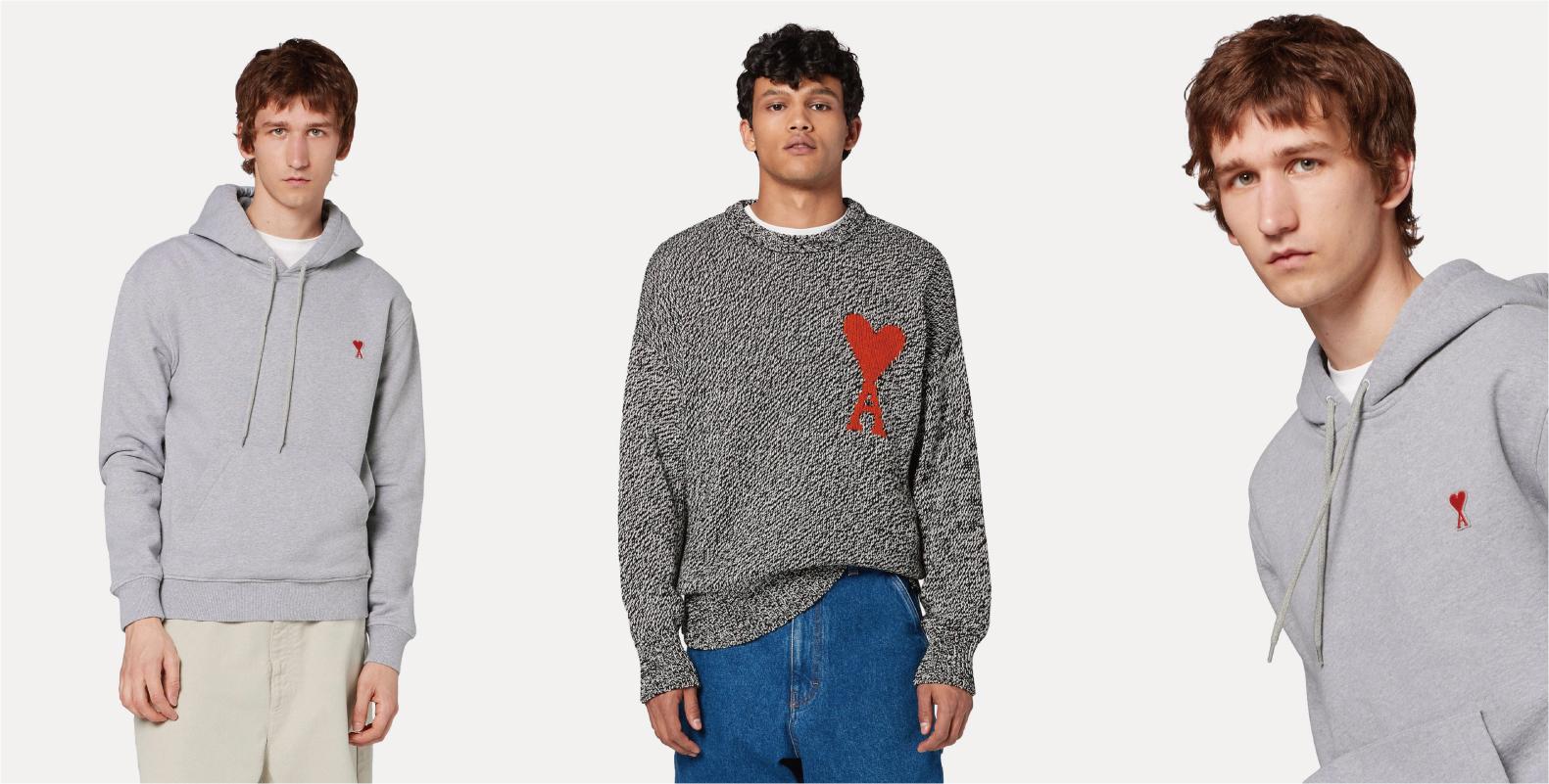 左/右/ AMI ALEXANDRE MATTIUSSI - Hoodie With Red Ami De Coeur Patch  , 中/ AMI ALEXANDRE MATTIUSS - Iintarsia knit jumper