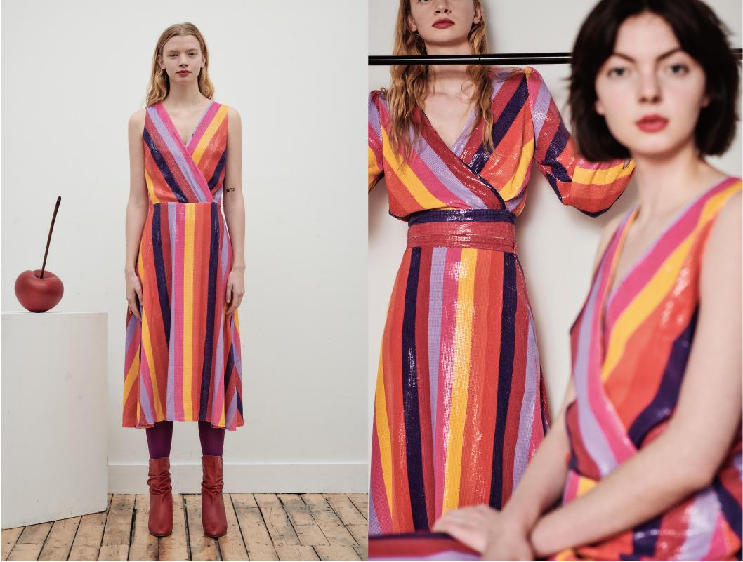 OLIVIA RUBIN - stripped sequin skirt