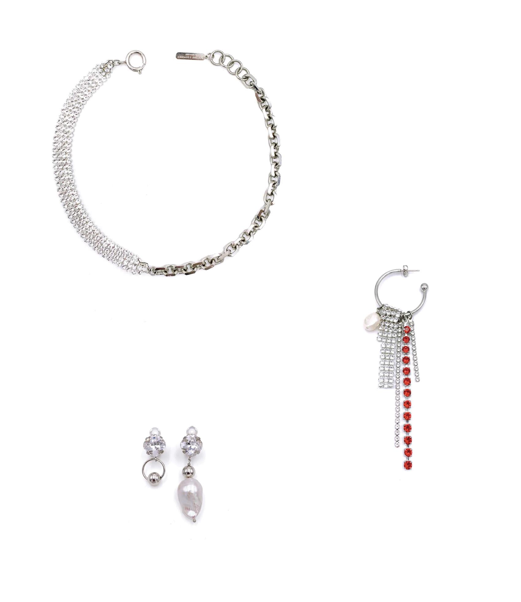 上/ JUSTINE CLENQUET - Shanon choker necklace  , 下/ JUSTINE CLENQUET - Laurie clip earrings