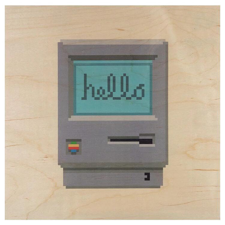 WOODHI 八零年代懷舊復古麥金塔電腦木製明信片