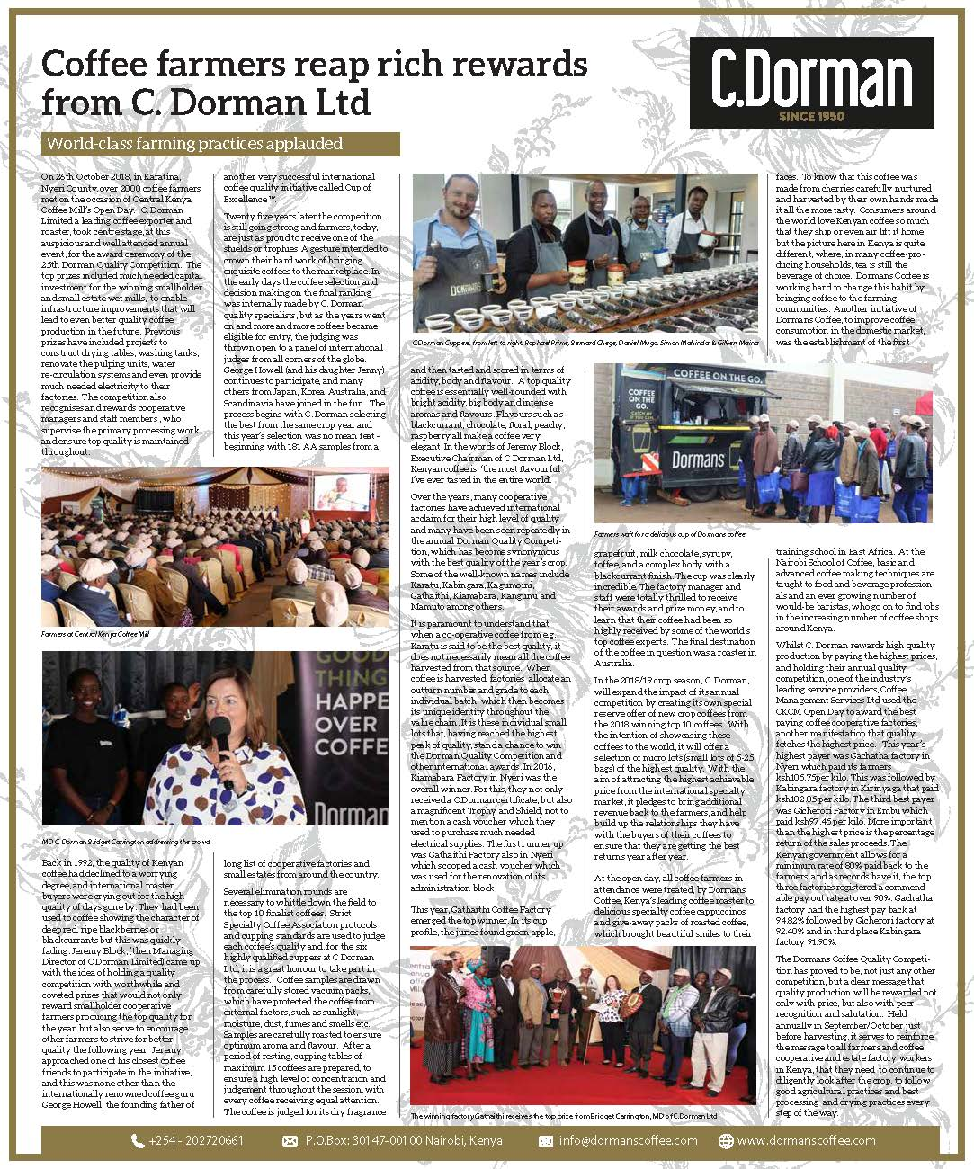 World class practices applauded. - Coffee farmers reap rich rewards from C. Dorman Ltd.
