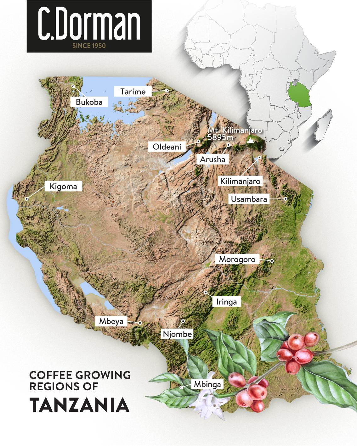 Tanzania coffee map -
