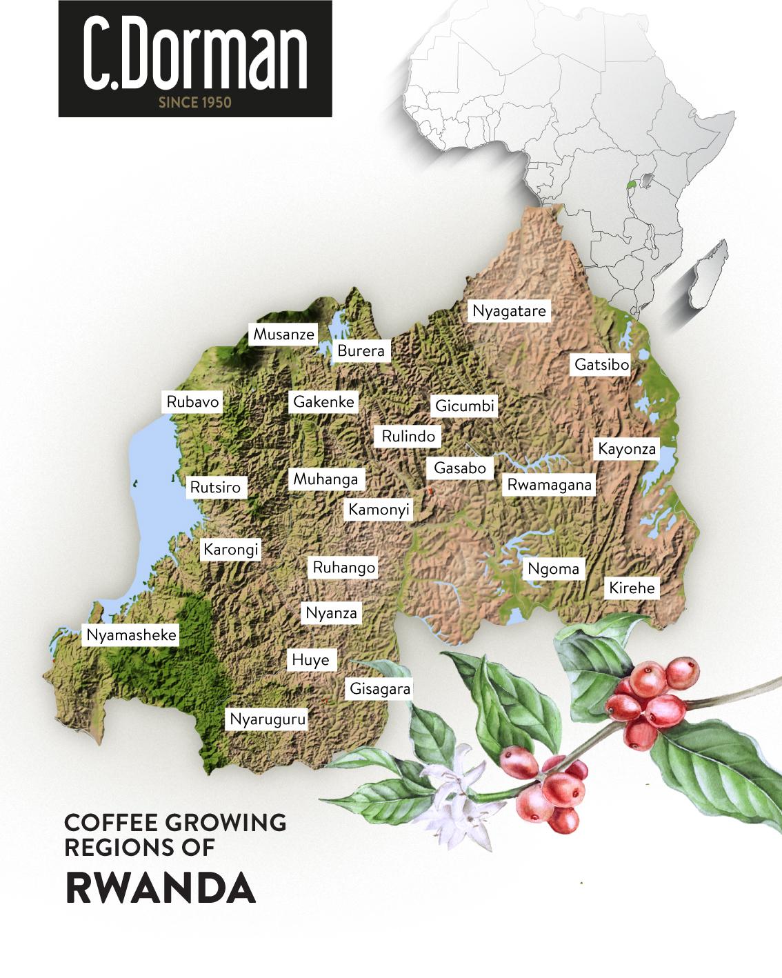RWANDA COFFEE MAP -