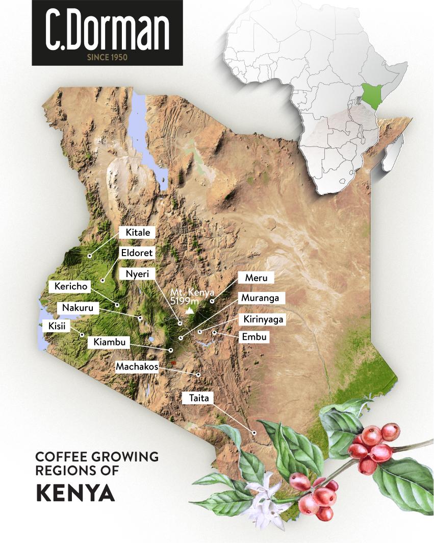 Kenya coffee map -