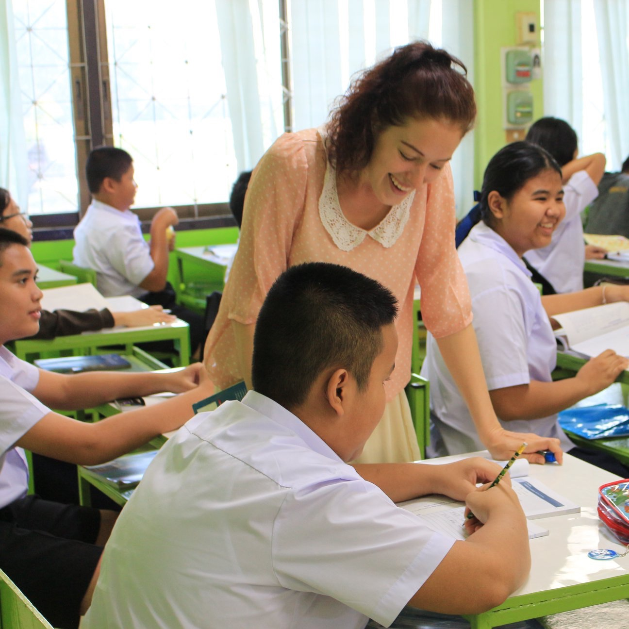 ENGLISH PROGRAM TEACHER (EP) - Also known as EP, is a program designed to provide Prathom and Mathayom students with an academic environment of primary and secondary subjects. The EP Program primarily focuses on Math, Science and Grammar/Literature. Secondary subjects would include Social Studies, Health, Digital English and ICT. This program provides students with a complete English environment refining their listening, speaking, reading and writing skills and applying these skills in real-world situations.