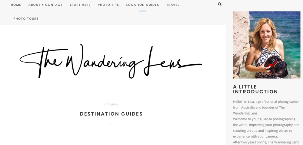 The Wandering Lens Lisa is a travel photographer whose blog is full of stunning images from all around the world. The tutorials are really easy to follow and are a great resource for improving your images. With the addition of photography focused travel guides, which are beautifully curated. This is the prefect blog to inspire your next travel destination.
