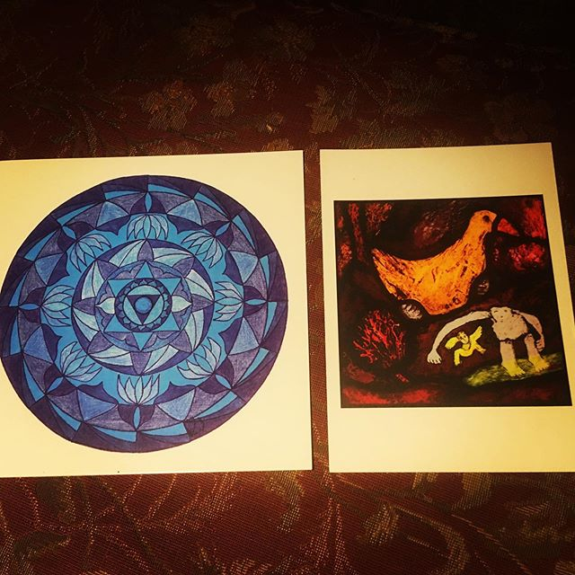 My lovely and funny astrology tutor and mentor sent me a very cool Vishuddi mandala and a medieval painting of a duck and an odd bloke. The sense of humour runs deep (we're proud duck parents). #psychosynthesis #astrology  #huberastrology