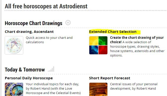 Head to astro.com, create your chart, and then go to Extended Chart Selection