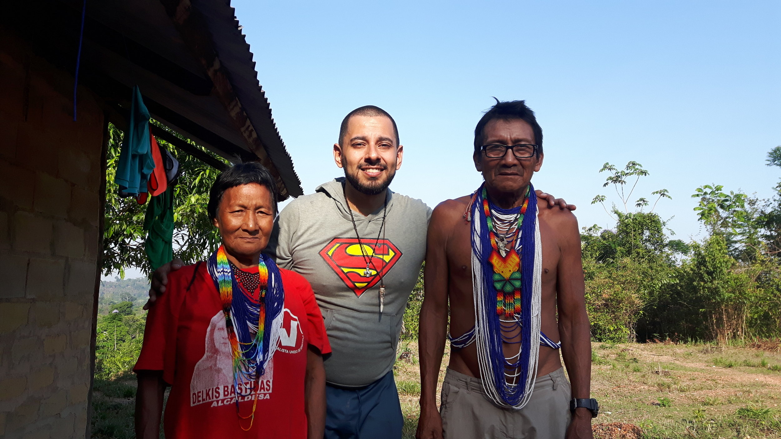 Shaman Rufino Pónare, his wife Carmen and myself