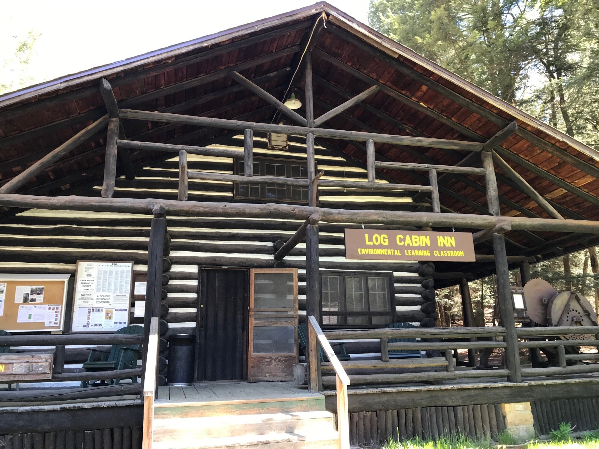 This log cabin is at the start of Longfellow trail, inside you can learn about logging in the area and how this land was preserved for us to enjoy.