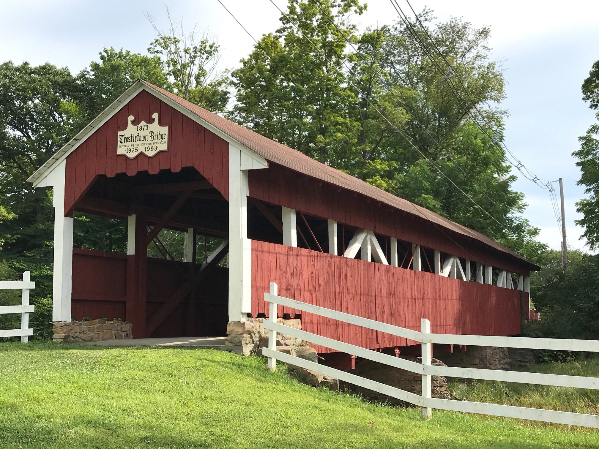 A covered bridge nearby