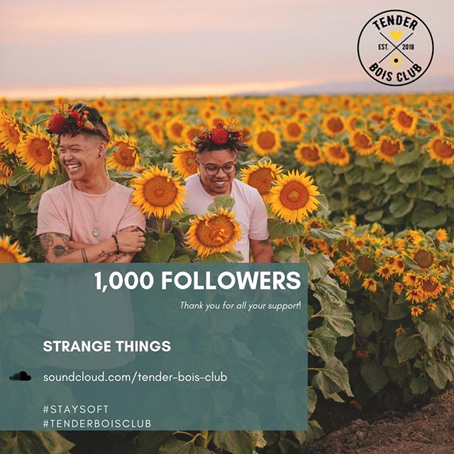 Peace fam,⠀⠀⠀⠀⠀⠀⠀⠀⠀ .⠀⠀⠀⠀⠀⠀⠀⠀⠀ So apparently we lost a few followers while we were creating this appreciation post for ya'll lol! but shoutout to all 998 of you for sticking it out with us. We recently hit 1,000 followers and just wanted to say THANK YOU for all your support. Truly, it means so much to us and we've got a lot brewing that we can't wait to share. Don't worry, more news and updates soon but for now enjoy our latest bop, some original music written and produced by yours truly. Did we mention we just launched our Soundcloud page? Check for the link here or in our bio. Share with the homies and enjoy 🌻🖤 Much love! ⠀⠀⠀⠀⠀⠀⠀⠀⠀ .⠀⠀⠀⠀⠀⠀⠀⠀⠀ #staysoft #transartists #qtpoc #creatives #tenderboisclub #newmusic #beats #hiphop #electronic . soundcloud.com/tender-bois-club