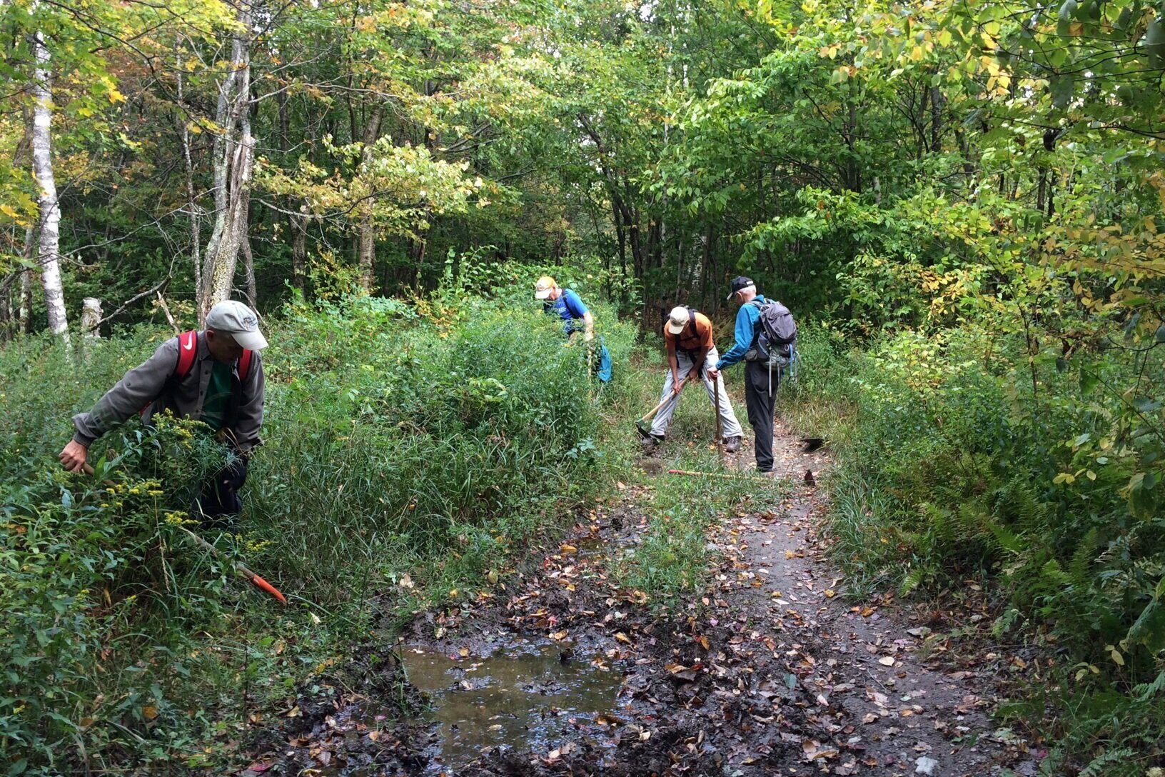 """""""Hoe and Shovel Day"""": Water bar repair on the TCT on 9/26. Many thanks to our trail stewards!"""