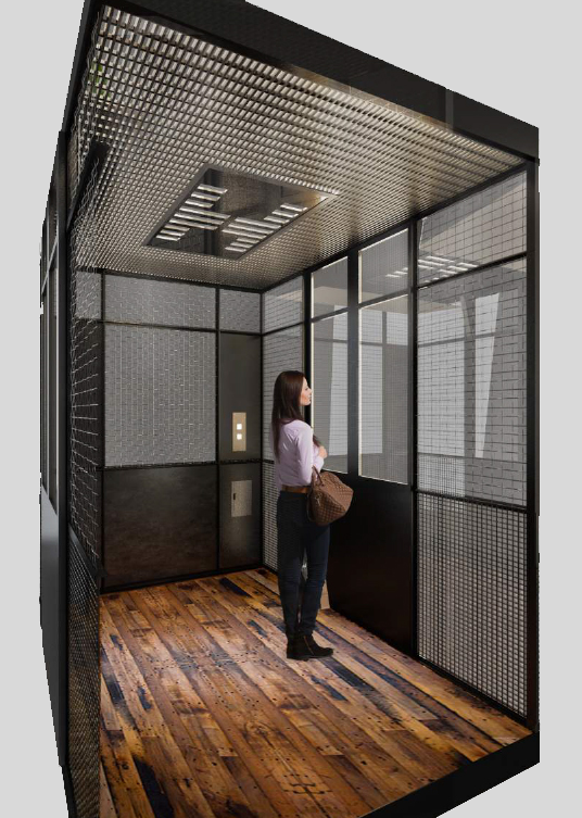 A view looking inside the Atrium Observation elevator