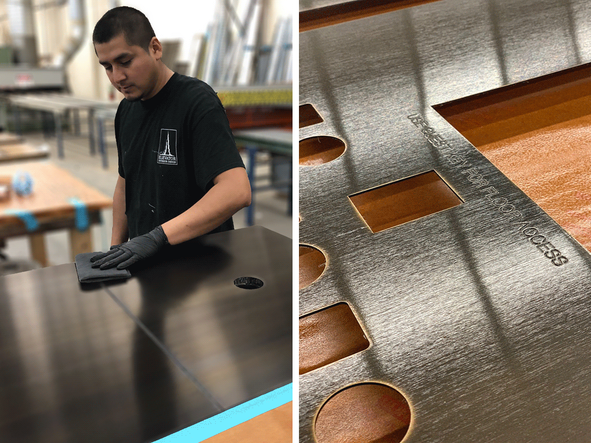 EID finish tech applies the warm oxidized patina.