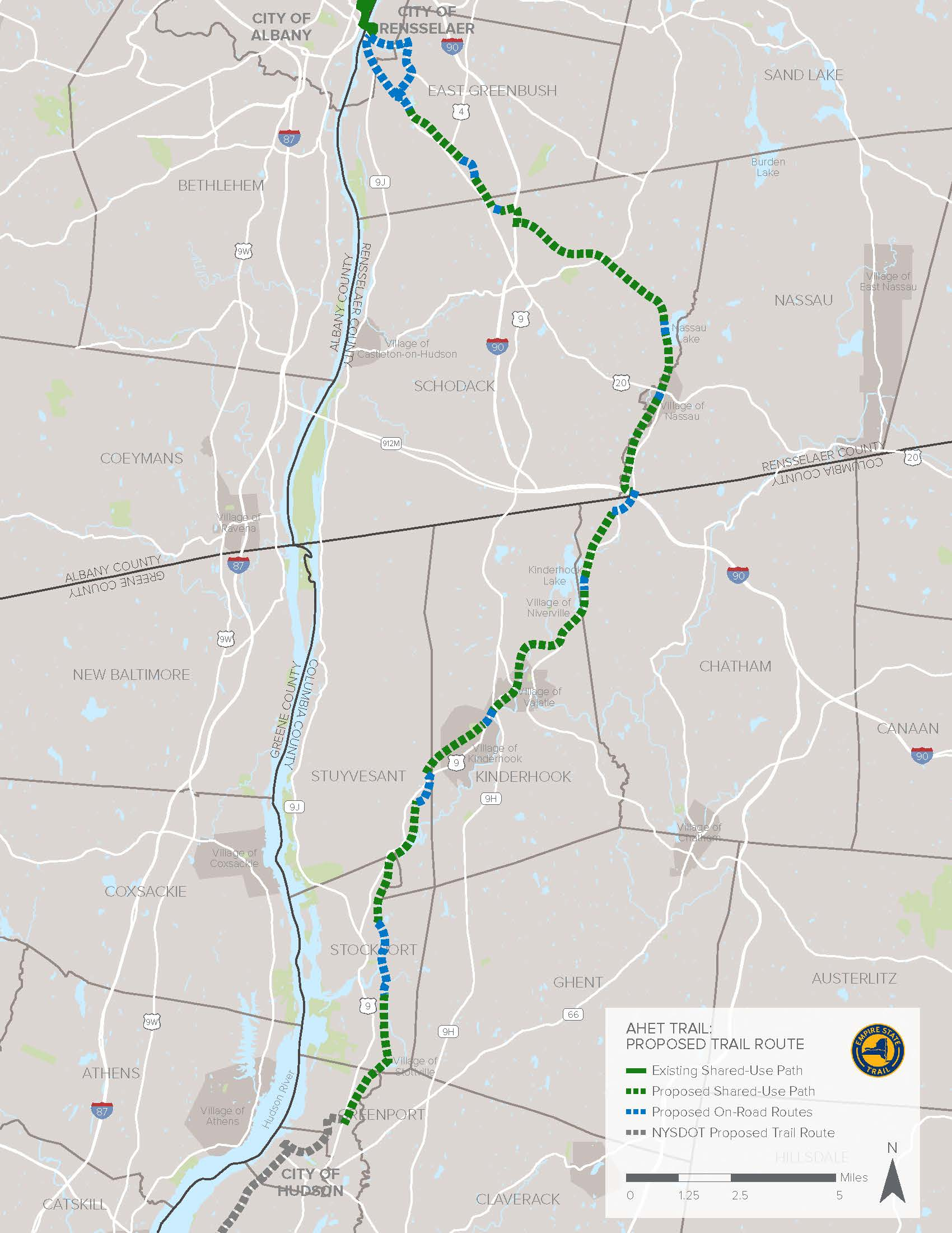 - The Albany-Hudson Electric TrailThe 36-mile trail is divided almost equally between Rensselaer and Columbia counties. Separate construction bids have been awarded for each county's section.