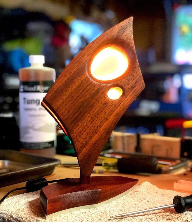 Friday's finished Current Luminaire.  Padauk. #industrialdesign #lightingdesign #padaukwood #madeinutah