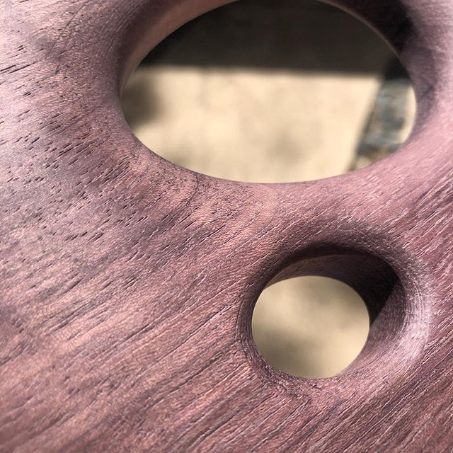 Purpleheart AMMA almost ready for oil and assembly.  Natural inclusions in the wood create a really interesting visual texture.  The final feel is warm and silky.  #purpleheartwood #industrialdesign #lightingdesign #moderndesign
