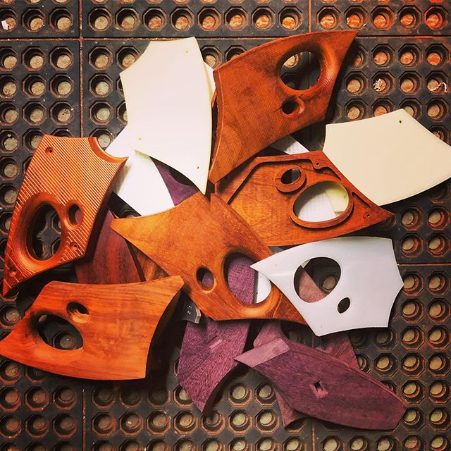 I'm inspired by @eastvanlight to pay respect to our failed parts.  Great wood, aluminum and acrylic lost to human error.  I like to believe each sacrifice helped move the design to completion. #padauk #purpleheartwood #etsy #industrialdesign #lightingdesign #madeinutah