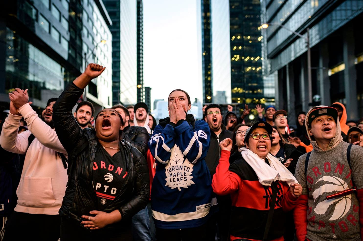 Fans celebrating Raptors (Christopher Katsarov/The Canadian Press via AP).