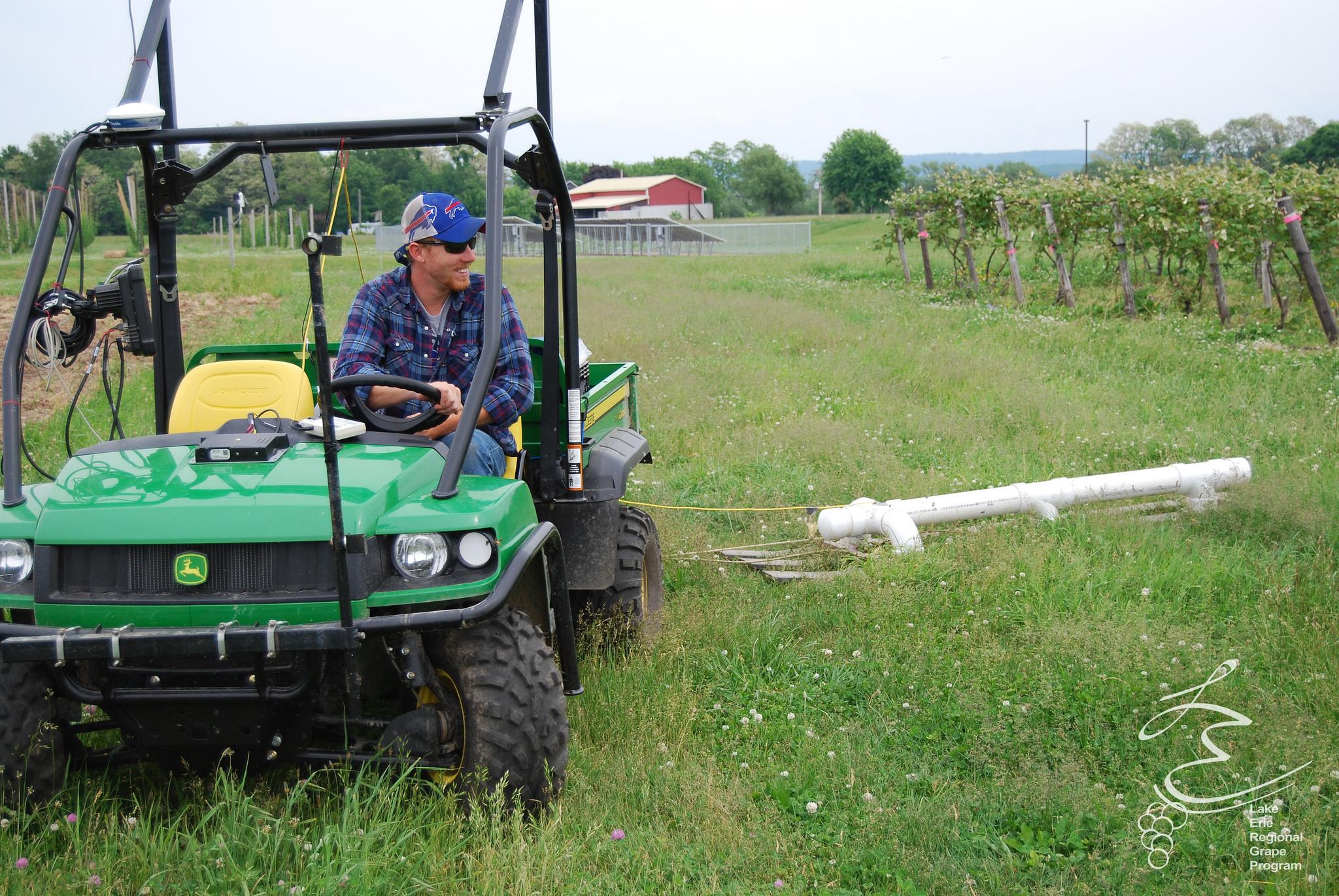 Soil sensor, measures apparent electrical conductivity.