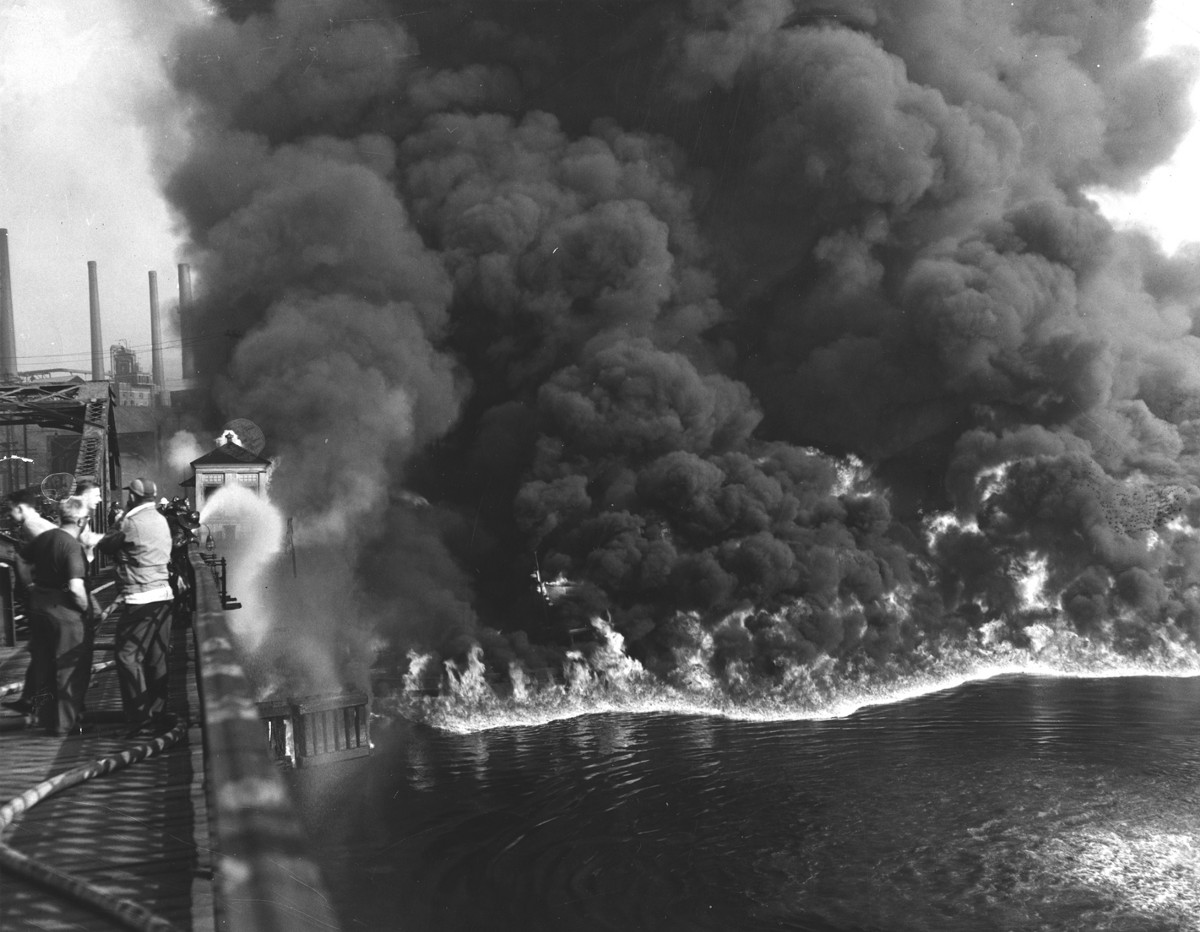 Not the 1969 fire, but a larger Cuyahoga River fire from the 1950s.