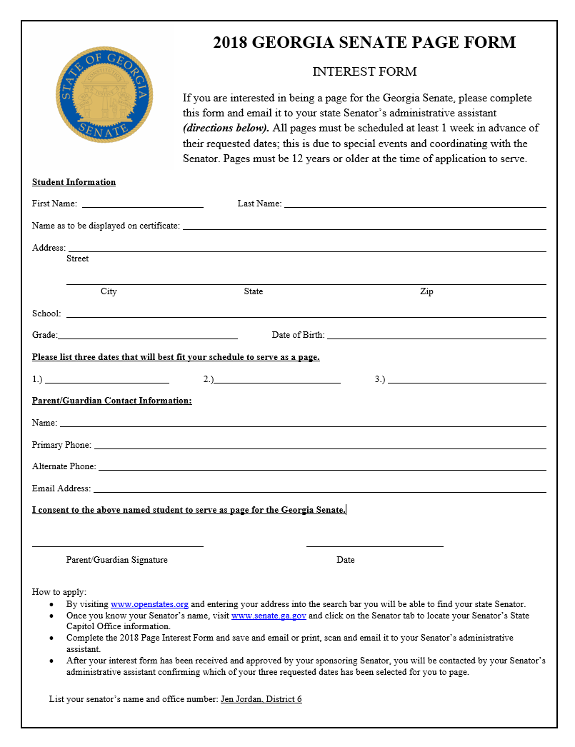 Please fill out this form and return it our office.