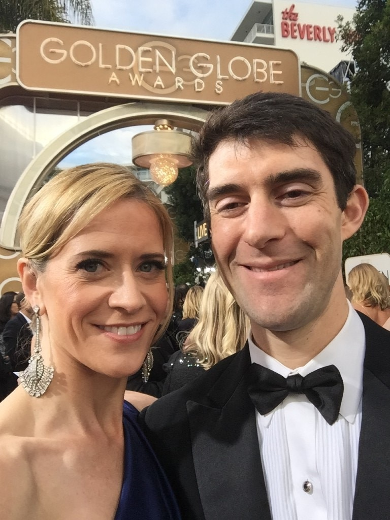 Blye Faust with husband Aaron Faust at the Golden Globe Awards 2016