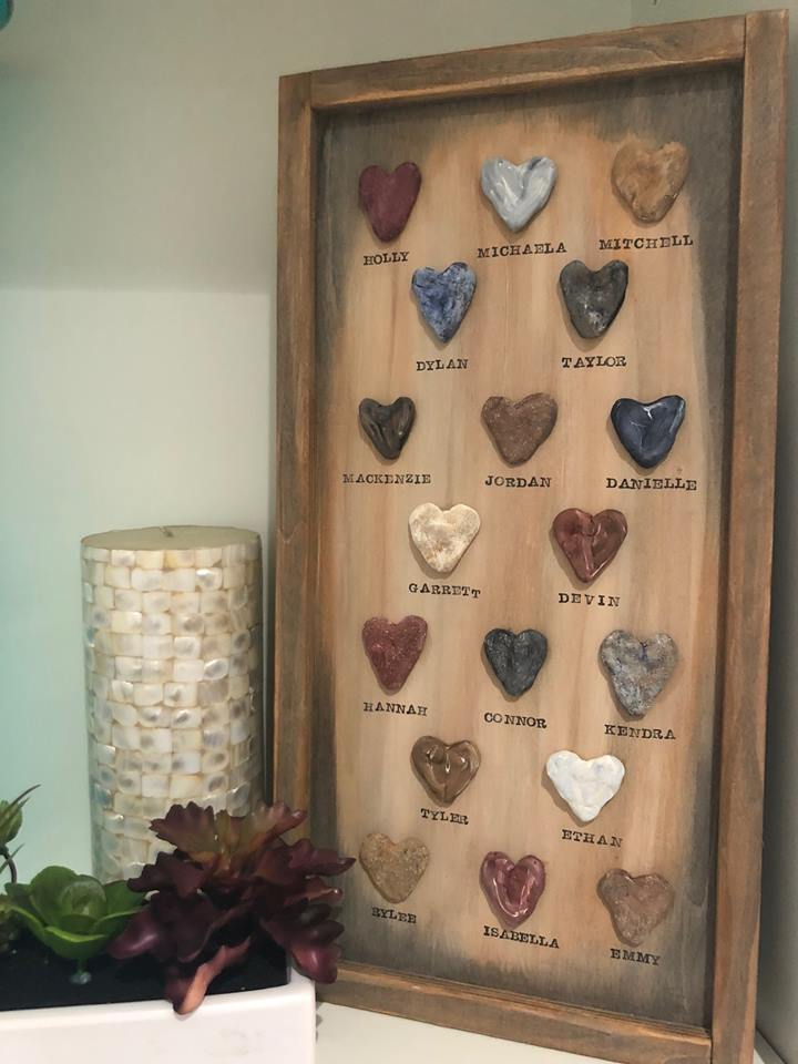 LOVE ROCKS - You will not find these pieces in the store. 100% handmade and unique. Frame is custom made, custom stained and rocks are hand molded and painted. Love Rocks are perfect for a grandparent or parent . You can capture special names, dates, places, anything that is meaningful.