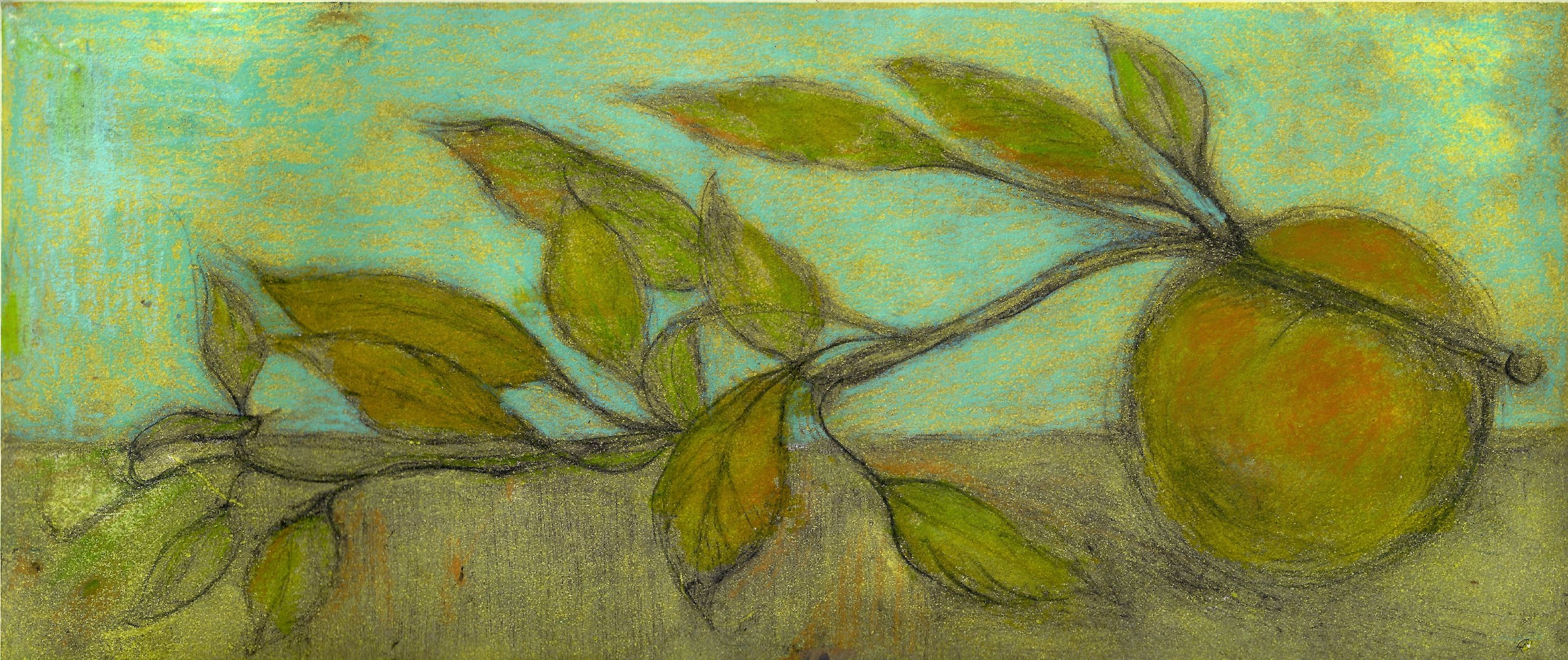 """detail of """"Quince/greens"""" 1/4 variable limited monoprint 2018"""