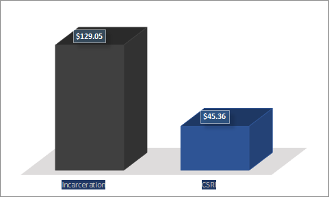 *The incarceration cost is rendered by taking the average yearly cost per inmate ($47,102, as reported in 2009 by the Legislative Analyst's Office, which can be found at http://tinyurl.com/7kngueg) and dividing by 365. CSRI's annual cost is determined by dividing the annual budget for this fiscal year ($7,499,963) by 365 and then by CSRI's average caseload this month.