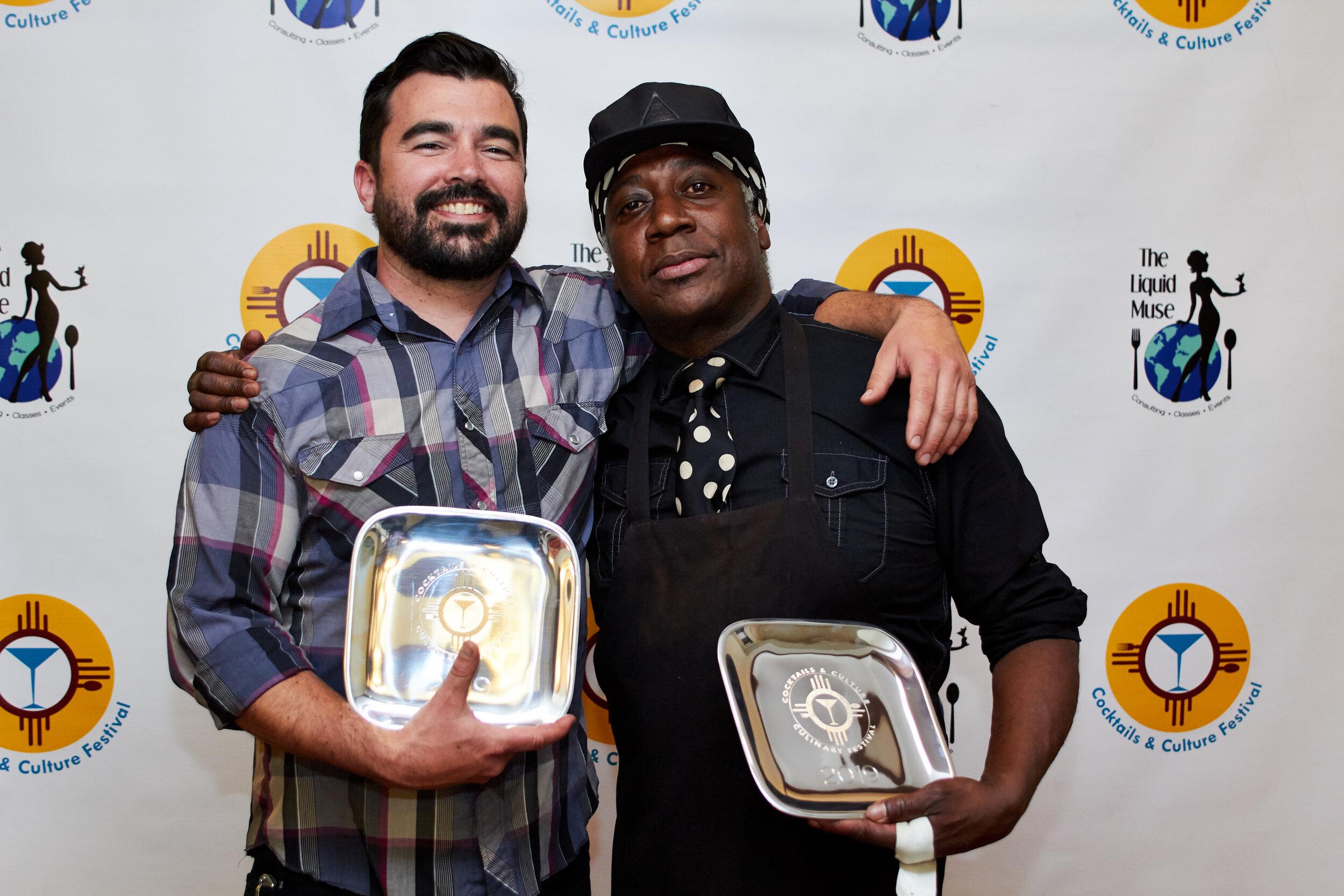 Oni's co-owner/ Chef  David Gaspar De Alba with  Shaker  Micheal Sebree.
