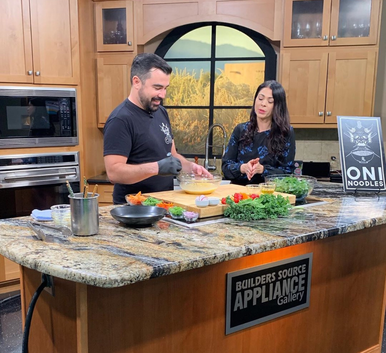 Oni's co-owner/ Chef  David Gaspar De Alba's cooking demo New Mexico Living on Oct 1, 2019.